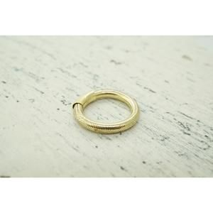 Jewelry - Womens 14K Yellow Gold Thread  Over Rubber Stackab